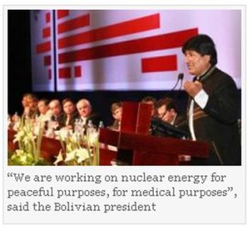 Президентът на Боливия Ево Моралес – страната започва да развива ядрения си отрасъл с помощта на Аржентина и Русия