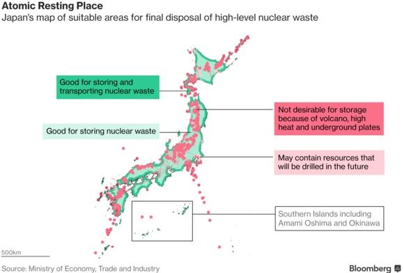 Правителството на Япония публикува карта на местата, подходящи за погребване на високо-активни отпадъци от АЕЦ