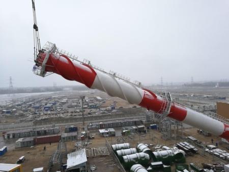 На втори блок на строящата се Нововоронежска АЕЦ-2 е изградена вентилационната тръба