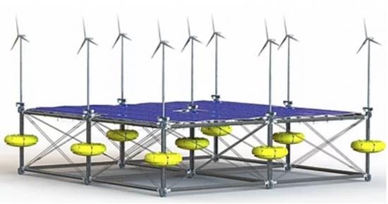 Плаваща платформа 3 в 1: генерира енергия от слънцето, вятъра и вълните