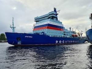 """Атомният ледоразбивач """"Арктика"""" се завърна в Санкт Петербург след морски изпитания във Финландския залив и Балтийско море"""